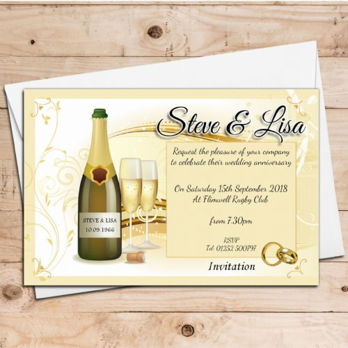 10 Personalised Wedding Anniversary Invitations N7 - Any year